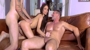 Erotic brunette agrees to threesome