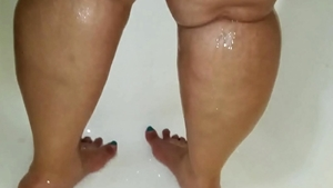 Feet teasing in the shower starring booty busty spanish babe