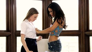 Aubrey Star accompanied by Layla Sin in office