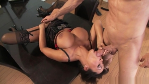 Pornstar Lisa Ann in tight stockings riding a dick